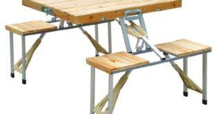 Table de Camping-Car Pique-Nique Pliante en Bois avec 4 sieges